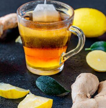 Ginger root tea with lemon